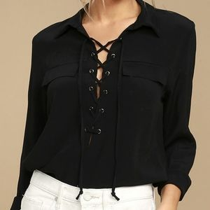 { Lulu's } Once in a Lifetime lace-up top
